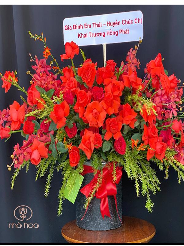 Hộp Hoa Hồng Đỏ Mix Lan Đỏ